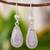 Jade dangle earrings, 'Lavender Tear' - Hand Crafted Sterling Silver Lavender Jade Dangle Earrings (image 2) thumbail