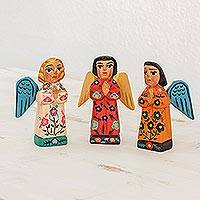 Wood figurines, 'Angelic Guardians of Peace' (set of 3) - Angelic Guardians of Peace Figurines