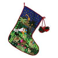 Applique Christmas stocking, 'Andean Nativity' - Christmas Stocking