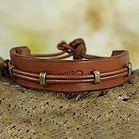 Men's leather wristband bracelet, 'Kintampo Days'