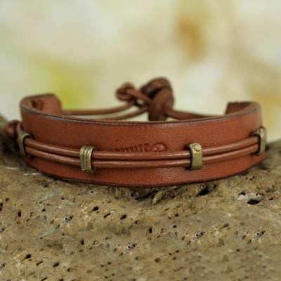 Men's leather wristband bracelet, 'Kintampo Days' - Mens Leather Bracelet