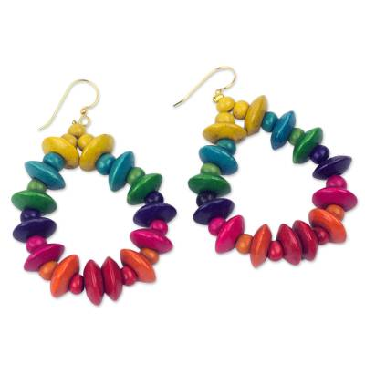Wood dangle earrings, 'Joyous Celebration' - Colorful Fair Trade Beaded Wood Dangle Earrings