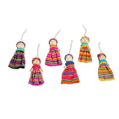Cotton ornaments, 'Worry Dolls Share the Love' (set of 6) - Worry Doll Ornaments
