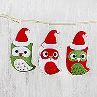 Felt Christmas ornaments, 'Santa's Owls' (set of 3) - Felt Owl Ornaments
