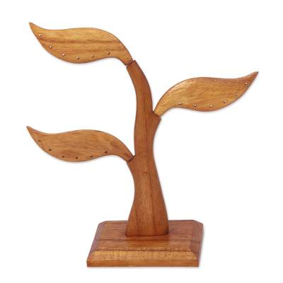 Wood earring tree, 'Daun Salam' - Earring Holder sculpture