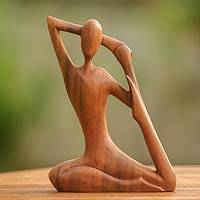 Wood sculpture, 'Yoga Stretch' - Wood Yoga Sculpture from Indonesia