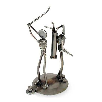 Iron statuette, 'Rustic Golfer' - Recycled Metal Figurine