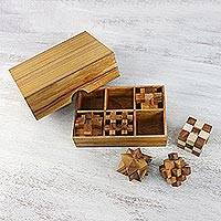 Wood puzzles, 'Puzzle Set' (set of 6) - Wooden Puzzle Game Set