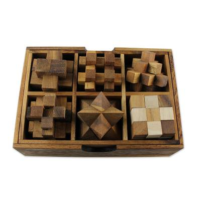 Wood puzzle set, 'Logic' (set of 6) - Wooden Puzzle Game Set