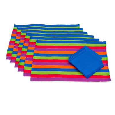 Cotton placemats and napkins, 'Harvest Trails' (set of 6) - Multicoloured Striped Cotton Placemats