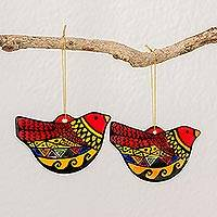 Ceramic ornaments, 'Holiday Peace Doves' (pair) - Colorful Ceramic Bird Ornaments