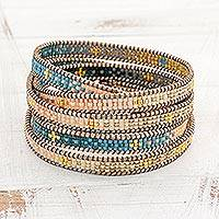Glass beaded wrap bracelet, 'Cerro de la Cruz in Blue'