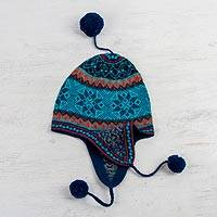 100% alpaca chullo hat, 'Andean Snowflakes' - Alpaca Chullo Hat