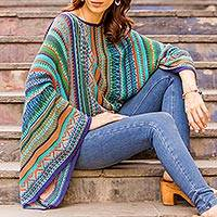 Striped kimono sleeve sweater, 'Lima Dance' - Bohemian Knit Jumper from Peru in Multicolour Stripes