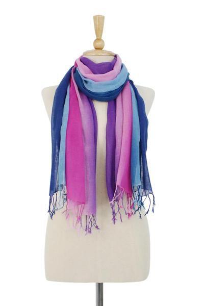 Cotton scarves, 'Innocent Colors' (pair) - Cotton Scarf set