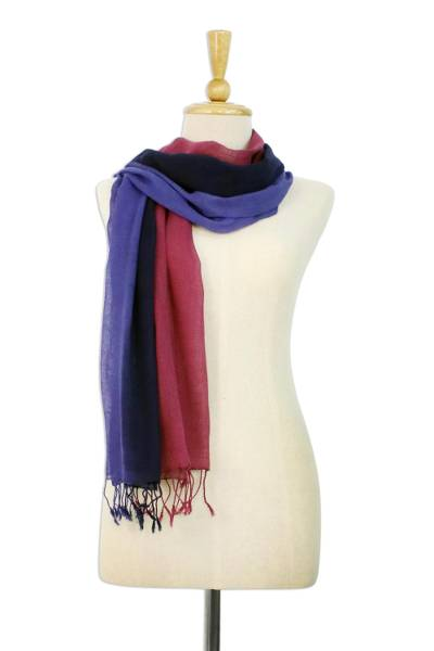 Cotton scarves, 'Colors of Experience' (pair) - Cotton Scarf set