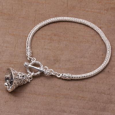 Sterling silver charm bracelet, 'Sound of a Bell' - Sterling Silver Charm Bracelet