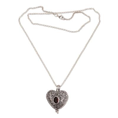 Garnet locket necklace 'Always in my Heart' - Garnet and Sterling Silver Heart Locket Necklace