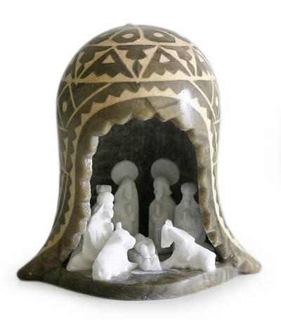 Stone sculpture, 'Andean Highlands Nativity' - Stone Nativity Sculpture