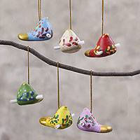 Ceramic ornaments, 'Christmas Messengers' (set of 6) - Ceramic Bird Ornaments