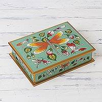 Reverse painted glass decorative box, 'Dragonfly World in Turquoise' - Dragonfly Reverse Painted Glass Decorative Box