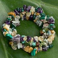 Multi-gemstone beaded stretch bracelets, 'Flowery Trio' (set of 3)