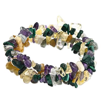 Set of 3 Purple Dark Green Malachite Citrine Beaded Stretch Bracelets