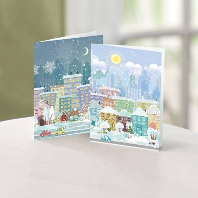 Season in the City Christmas Cards Set of 10, 'Season in the City' - Unicef Charity Christmas Cards