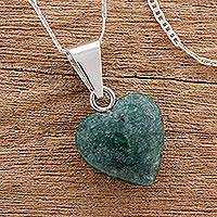 Jade heart necklace, 'Love Immemorial' - Jade Heart Pendant Necklace