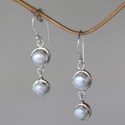 Pearl dangle earrings, 'Two Full Moons' - Sterling Silver Cultured Freshwater Pearl Dangle Earrings