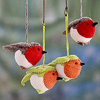 Wool ornaments, 'Robin's Delight' (set of 4)