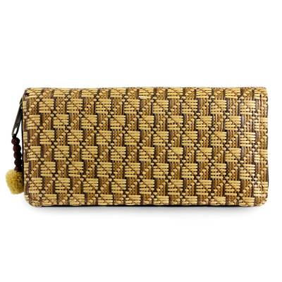 Paper and cotton wallet, 'Gingham' - Chequered Earth Clutch Wallet