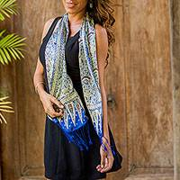 Silk batik scarf, 'Royal Java Blue' - Handmade Silk Batik Scarf from Indonesia
