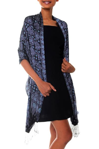 Silk batik shawl, 'Java Sea' - Silk batik shawl