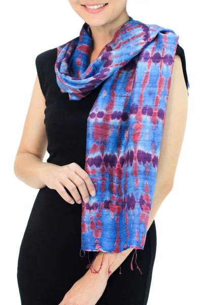 Silk scarf, 'Azure Wilderness' - Silk Patterned Scarf from Thailand