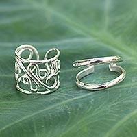 Sterling silver ear cuff earrings, 'Sleek Filigree' (pair)