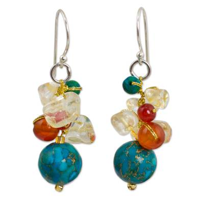 Carnelian and citrine cluster earrings, 'Blue World' - Handcrafted Carnelian Citrine Calcite Cluster Earrings