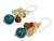 Carnelian and citrine cluster earrings, 'Blue World' - Handcrafted Carnelian Citrine Calcite Cluster Earrings (image 2b) thumbail