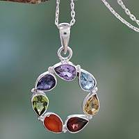 Multi-gemstone pendant necklace, 'Chakra' - Multi-gemstone Necklace Chakra Jewelry from India