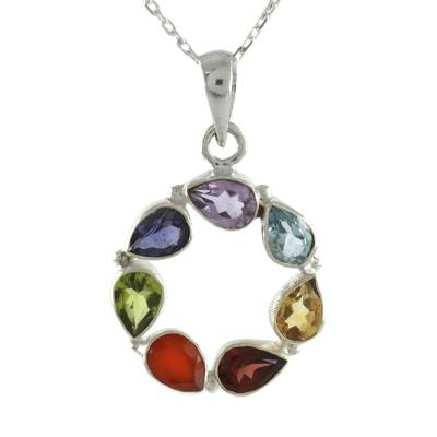 Multi-gemstone pendant necklace, 'Chakra' - Multi-gemstone Necklace Chakra Jewelry from India