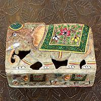 Soapstone box, 'Indian Elephants' - Elephant Soapstone Decorative Box
