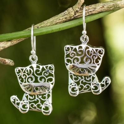 Sterling silver dangle earrings, 'Filigree Kitten' - Sterling Silver Cat Earrings