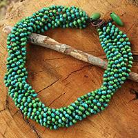Wood torsade necklace, 'Chao Phraya Belle' - Blue Green Torsade Necklace Wood Beaded Jewelry