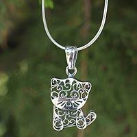Sterling silver pendant necklace, 'Filigree Kitten'
