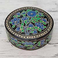 Papier mache box, 'Blue Grandeur'