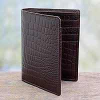Men's slim leather wallet, 'Efficient in Brown Crocodile' - Men's Embossed Handcrafted Brown Slim Leather Wallet