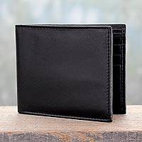 Men's leather wallet, 'Bengal Black' - Men's Black Leather Wallet with Traditional Styling