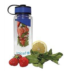 UNICEF Drinking Bottle with Flavour Infuser UNICEF Gifts - UNICEF Clear Plastic Drinking Bottle with Flavour Infuser