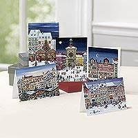 Unicef Charity Christmas Cards (Set of 10), 'Snowy Towns' - Unicef Charity Christmas Cards (Set of 10)
