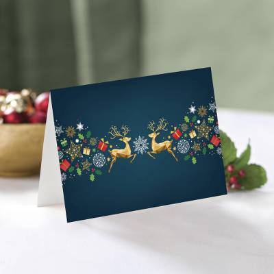 Unicef Charity Christmas Cards (Set of 10), 'Shimmering Reindeer' - Unicef Charity Christmas Cards (Set of 10)